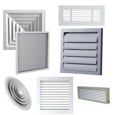 Grile ventilatie confectionate din aluminiu, vopsite electrostatic in orcare culoare RAL